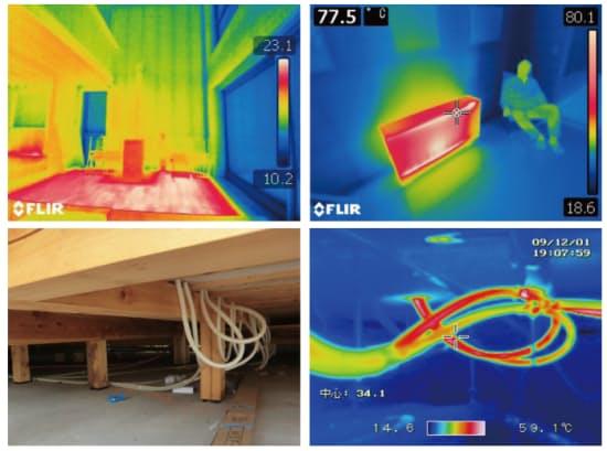図3 床暖房は設計に要注意。低温やけど防止のために表面温度に上限があり、加熱能力が限られる。熱的に弱い大開口からのコールドドラフト防止効果も弱い(左上)。また屋外に露出した温水配管部分から熱ロスが多いため、きちんと断熱することが不可欠(下)。蓄熱暖房機はかつて、省コストで快適性も高いとされたが、1次エネルギー効率が非常に低いことから、平成25年省エネ基準では実質禁止される(右上)