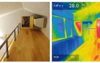 図4 断熱と日射遮蔽が徹底した最新の超高性能住宅では、高い場所に1台だけエアコンを設置して家中を冷房することが可能である。冷たい空気は重たいので自然に下階に降りていく。家中の冷房負荷が1台に集中するので、エネルギー効率が高くなる。ただし冷房が全体に届くまでには時間がかかるので、長時間の運転が使い方の基本となる