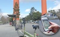 スマートフォンのアプリ(写真の円内)から呼び出して、その場で自転車を借りられる