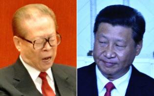 上海に狙いを定める習主席(右、2014年のモンゴル訪問で)と、高齢ながら、なお力を残す江元主席(12年11月の中国共産党大会で)