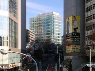 図4 宮下町の近くでは2015年末に完成した「キユーピー本社ビル」(建て替え)が、美竹通りにある区の仮庁舎の並びに姿を現した(写真:日経アーキテクチュア)