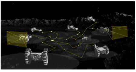 アイスペースの昆虫型ロボットが活動する様子(想像図)=アイスペース提供