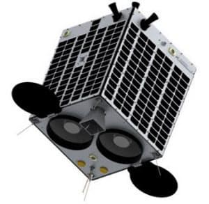 アクセルスペースが打ち上げる予定の衛星の模型