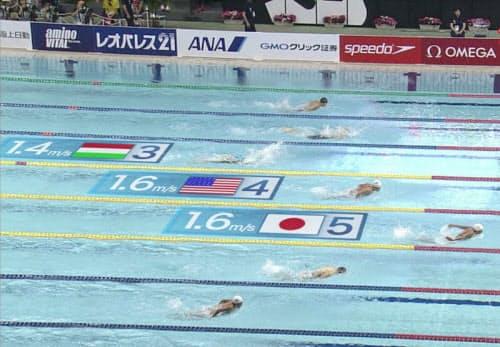 2020年までに完成させたい映像イメージの例。水泳競技で、リアルタイムに選手の名前や速度などを「重畳」する(提供:テレビ朝日)