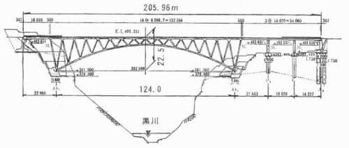 阿蘇大橋の側面図(資料:戸塚誠司著「熊本県下における近代橋梁の発展史に関する研究」)