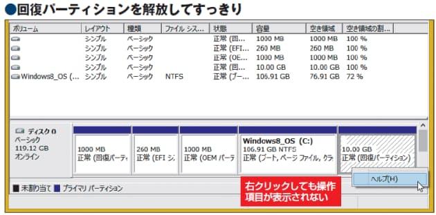 作成 回復 パーティション windows10で、回復パーティションの作成がうまくいきません。