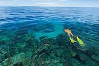 北太平洋南部にあるミクロネシア、ヤップ島沖のひっそりとした海では、シュノーケリングやダイビング、釣りが楽しめる(写真:Mike Veitch/Alamy)