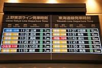 上野東京ラインの行き先表示。同じ7番線に常磐・宇都宮・高崎線の列車がやってくる。どれに乗るか、確認が不可欠だ(4月22日、東京駅)