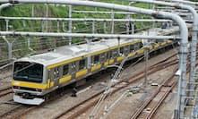 御茶ノ水駅を境に西が中央線、東が総武線。帯が黄色い電車=総武線というわけではない(御茶ノ水駅付近)