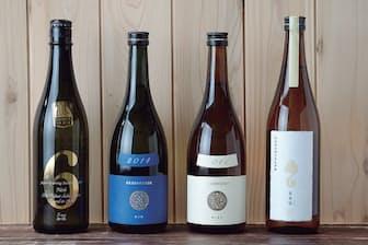 (写真左から)『新政 NO.6 S-type』ろ過を最小限に抑えた生原酒で、澄んだ味わい。精米歩合は40%(720mLで税別1574円)、『Colors 瑠璃(ラピス)』秋田産「美山錦」を100%使用した代表作。精米歩合は40%(720mLで税別1574円)、『Colors 生成(エクリュ)』秋田酒こまち100%使用のスタンダードクラスで、比較的手に入りやすい(720mLで税別1259円)、『亜麻猫(アマネコ)』焼酎造りで使われる白こうじを使って醸した意欲作。現在は生酛造りに(720mLで税別1389円)