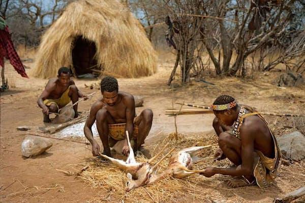 人工照明その他の電力を使わず、伝統的な野営生活を営むタンザニアのハッザ族。男たちがディクディク(小型のアンテロープ)をさばいている。健康状態や寿命はさておき、彼らが先進国の人々に比べて長く眠っているわけではないことが、最近の研究で分かった。(Photograph by Martin Schoeller, National Geographic)