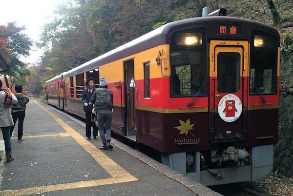 わたらせ渓谷鉄道のトロッコ列車「わっしー号」(通洞駅で)