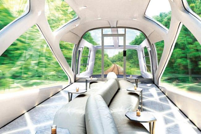 豪華列車「トランスイート四季島」の四方を窓ガラスで囲んだデザインの展望エリア(写真:JR東日本)
