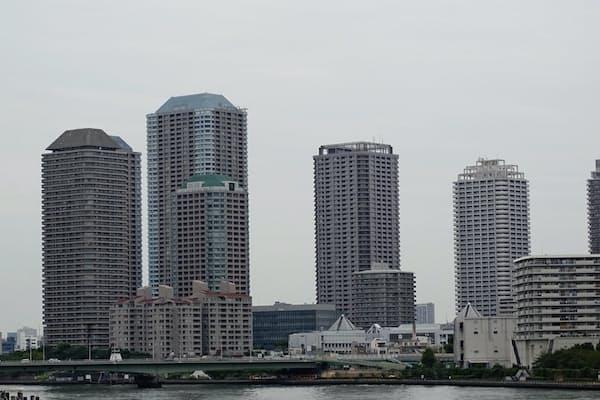 中古マンションの管理状態を見極めるにはいくつかチェックポイントがある(東京・中央のマンション群)