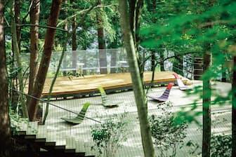 「星のや富士」(住所:山梨県南都留郡富士河口湖町大石1408) 松林の中にテラスが浮かぶ「クラウドテラス」がある。(星のや富士の写真提供:星野リゾート)