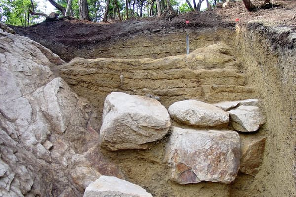 列石、土塁、岩盤が接続している(西条市教育委員会提供)