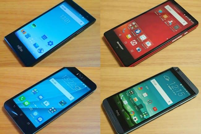 機能充実した3万円台SIMフリースマートフォン。富士通「arrows M02」(左上)、NTTレゾナント「g04」(右上)、ASUS「ZenFone Selfie」(左下)、HTC「Desire 626」(右下)