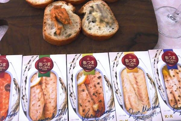 国分「缶つま GLOBAL TOUR」のフランスの地方料理のサバを味わえるシリーズ5品。各500円(税別)