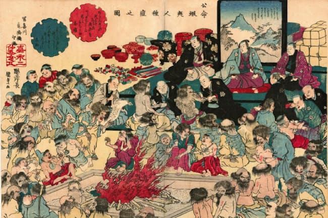 アイヌ民族に種痘した様子を描いた錦絵(公命蝦夷人種痘之図)