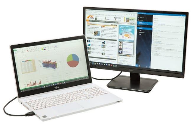 ノートパソコンのディスプレーは解像度こそ高いが、サイズは10~15型クラスと小さいものがほとんど。安価な21型クラスの液晶ディスプレーを追加するだけで、情報量が増えるだけでなく、文字などが大きく表示されて見やすくなる