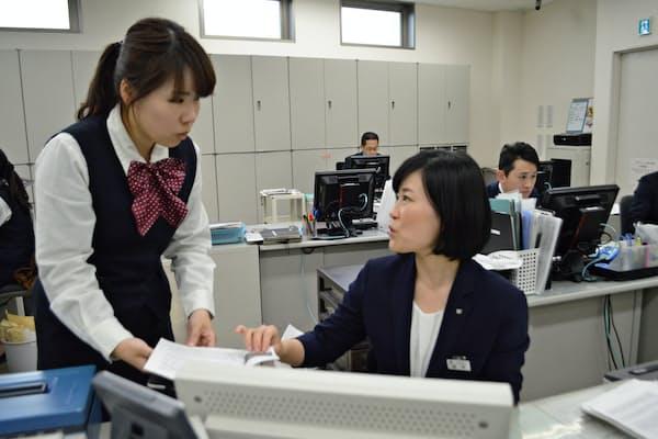 京都銀行は女性管理職が増えている(山科小野支店)