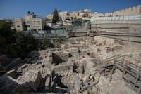 イスラエルのエルサレムで古代ギリシャ時代の城塞遺跡が発掘された。(Photograph by Xinhua, JINI, Xinhua Press, Corbis)