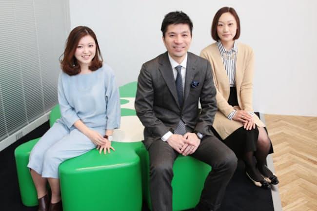 (左)中出恵利花さん、(中)藤田晋社長、(右)石田裕子さん(写真:鈴木愛子)