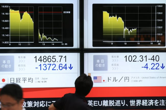 24日、日経平均株価は一時1300円超値を下げた(24日午後)