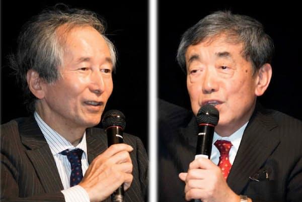 早大の内田和成教授(左)とカルビーの松本晃会長