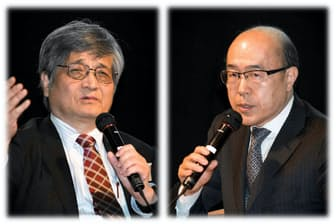 早大ビジネススクールの根来龍之教授(左)と米ハーバード・ビジネススクールの佐藤信雄・日本リサーチセンター長