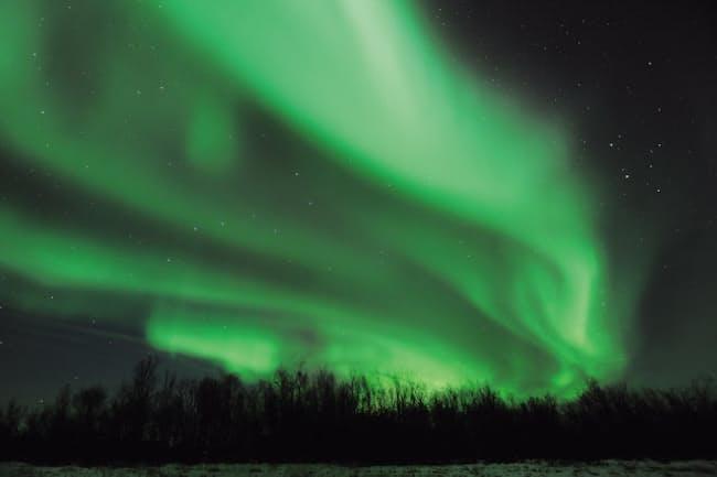 夜空に現れる光のカーテンのようなオーロラ