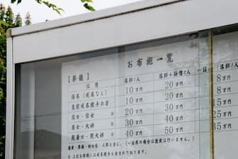 境内にお布施の金額を明示する寺院も現れている(埼玉県熊谷市の曹洞宗見性院)