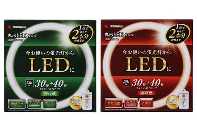 アイリスオーヤマの「丸形LEDランプ」シリーズ。光の色は昼白色(緑)、電球色(赤)のほか昼光色(青)がある
