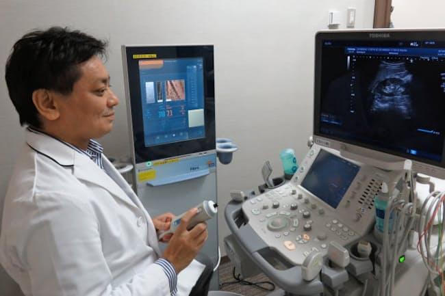 超音波で肝臓の硬さや脂肪の量を調べて脂肪肝を診断する(大阪市の大阪市立大学付属病院)