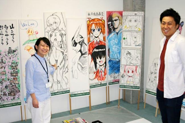 著名漫画家らに描いてもらった「ステカン(捨て看板)」。期間中は福島県小野町の文化施設で約60点を展示する(同県三春町の福島ガイナックス本社)
