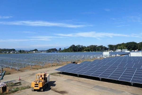 グリーンボンドを活用する予定のメガソーラー施設の建設現場(栃木県壬生町、下野市)