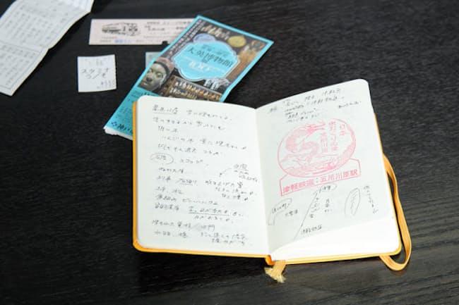 森見さんがデビュー以来使い続けている取材ノート。開かれたページに書かれているのは『夜行』に収録された「津軽」の執筆のために訪れた、青森での取材メモ。訪れた場所で森見さんの目に映ったモノの断片がつづられる