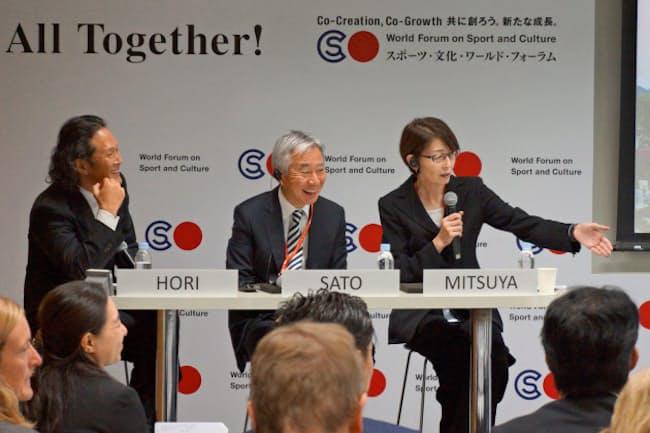 文部科学省の「スポーツ・文化・ワールド・フォーラム」官民ワークショップでアスリートとファンの絆について語り合った(10月21日、東京・港)