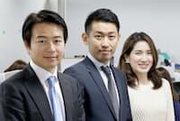 日本法人YCPジャパン(東京・港)のオフィスに並ぶビジネスプロデューサーの谷内侑希子氏(右端)、パートナーの谷口征郎氏(中央)、グループCEOの石田裕樹氏(左端)