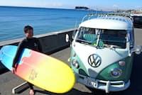 サーフボードが入る車を購入した池田紀行さん