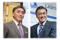 ファミリマート社長の沢田貴司氏(左)とローソン会長の玉塚元一氏