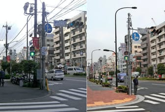 電線と電柱を埋めると街並みはスッキリする(東京都墨田区業平2丁目)