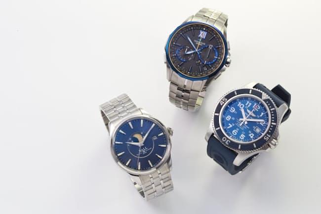 腕時計の文字盤といえば白か黒が定番だったが、最近、青文字盤のモデルが人気を集めている