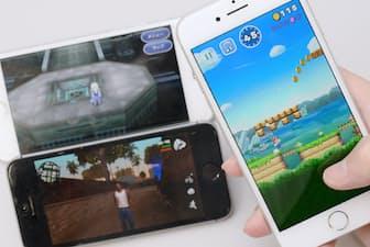 「スーパーマリオラン」(右)など「買い切り型」のゲームアプリが登場している