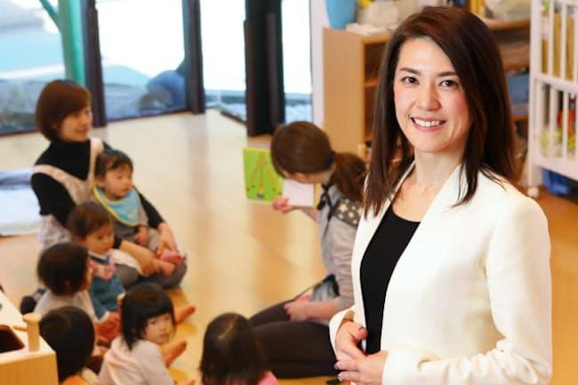 託児所付きシェアオフィスを運営するオクシイの高田麻衣子社長(東京都世田谷区)