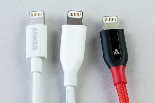 ANKERのiPhone用Lightningケーブル上位モデルになるほど断線しにくい加工が施されている
