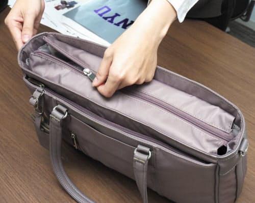 f69be34abea1 女性用バッグの上部は、ボタン1個で閉じるくらいで中身が見えるものも多いが、脇が甘い印象を与える。仕事用カバンに天ファスナーは必須