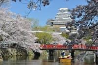 姫路城の内堀を進む観光和船。桜のシーズンは毎日運航される(提供:姫路フィルムビューロー)