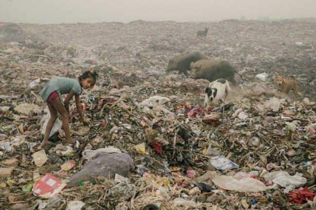 プラスチックを探す少女。ブホールスワのごみ捨て場は1日中燃え続けており、有害な煙の発生源になっているが、ごみを探しに多くの人びとがやって来る。(PHOTOGRAPH BY MATTHIEU PALEY, NATIONAL GEOGRAPHIC)