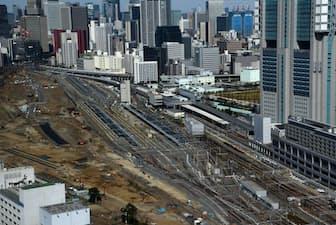 品川新駅建設へ整備が進む品川車両基地の跡地=PIXTA